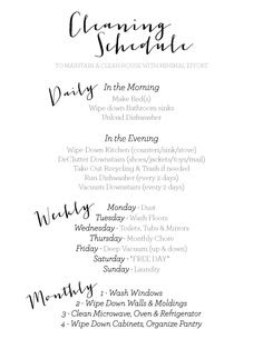 Daily, Weekly, & Monthly Cleaning Schedule - The Workout Mama ...