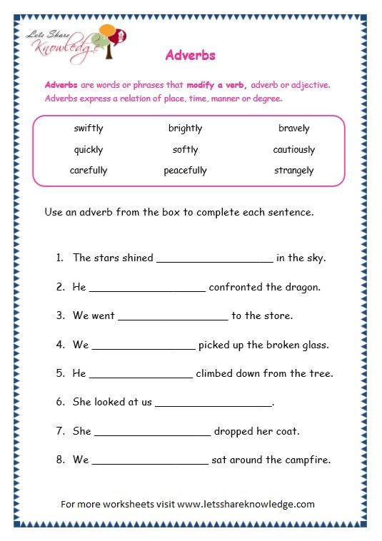 grade 3 worksheets adverbs page 6