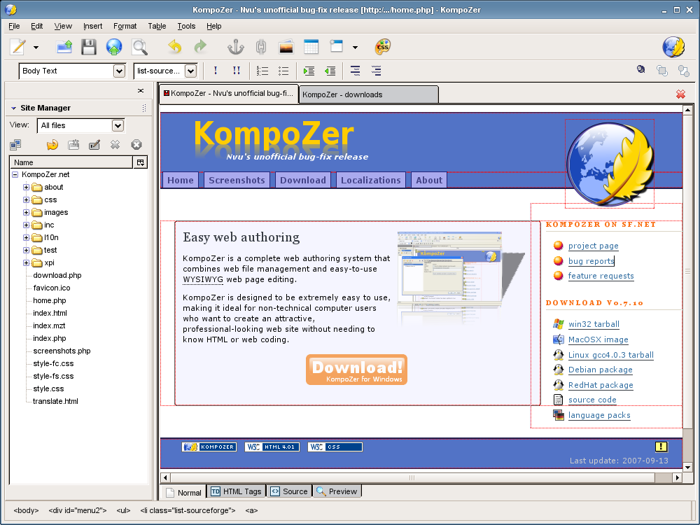 http://kompozer.sourceforge.net/screenshots/kpz-scr-01.png
