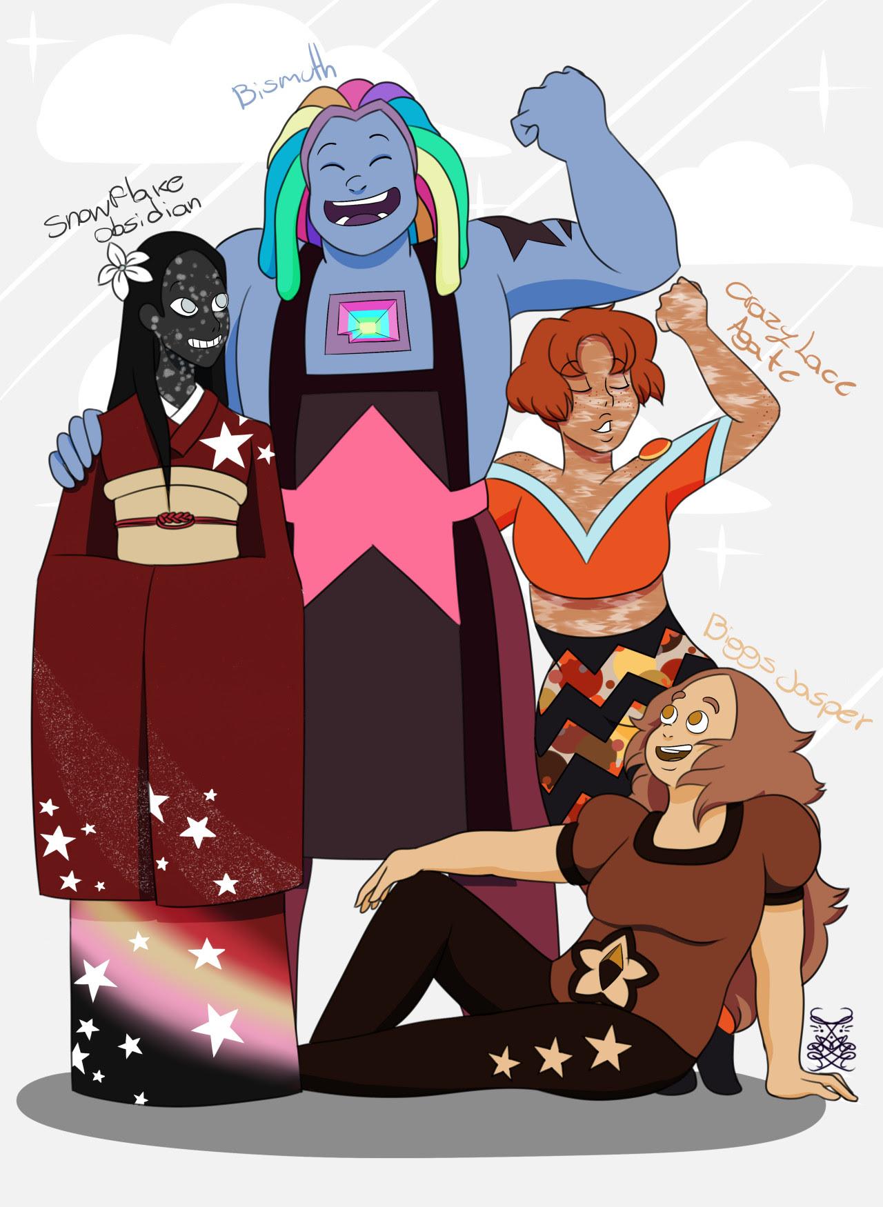 Steven Universe: Bismuth, Snowflake Obsidian, Crazy Lace Agate, Biggs Jasper. :D