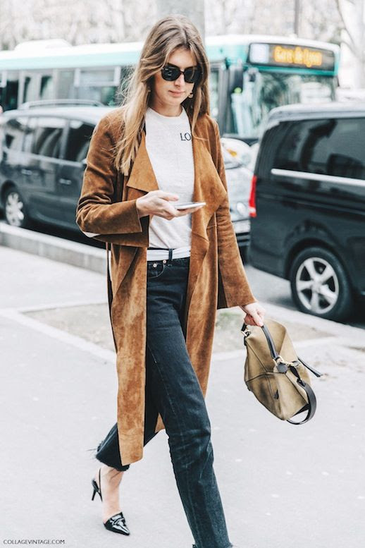 Le Fashion Blog Street Style Sunglasses Suede Trench Coat White Tee Brown Bag Denim Black Heels Via Collage Vintage