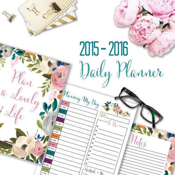 Daily Planner, 2015-2016 School Year Planner, Printable Agenda ...