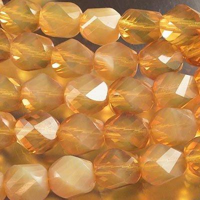 s18875 Firepolish - 10 mm Spiral Barrel Cut - Butterscotch Opal (Strand 25)