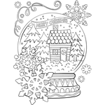 Merry Christmas Snowglobe free coloring page