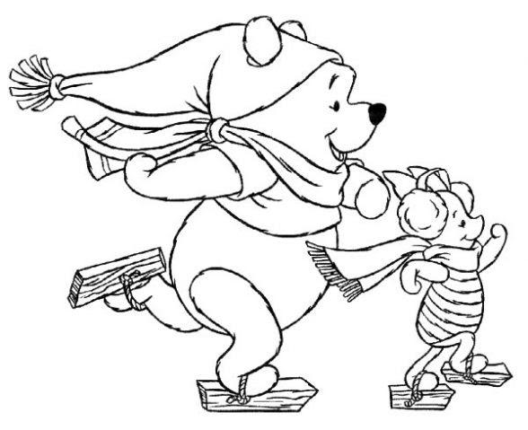 Dibujo De Winnie En Invierno Para Colorear Dibujos Infantiles De