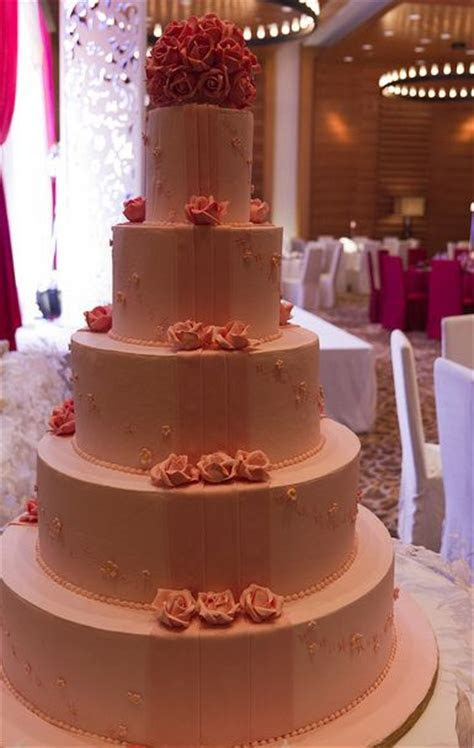 Five tier round pink wedding cake with carnation roses