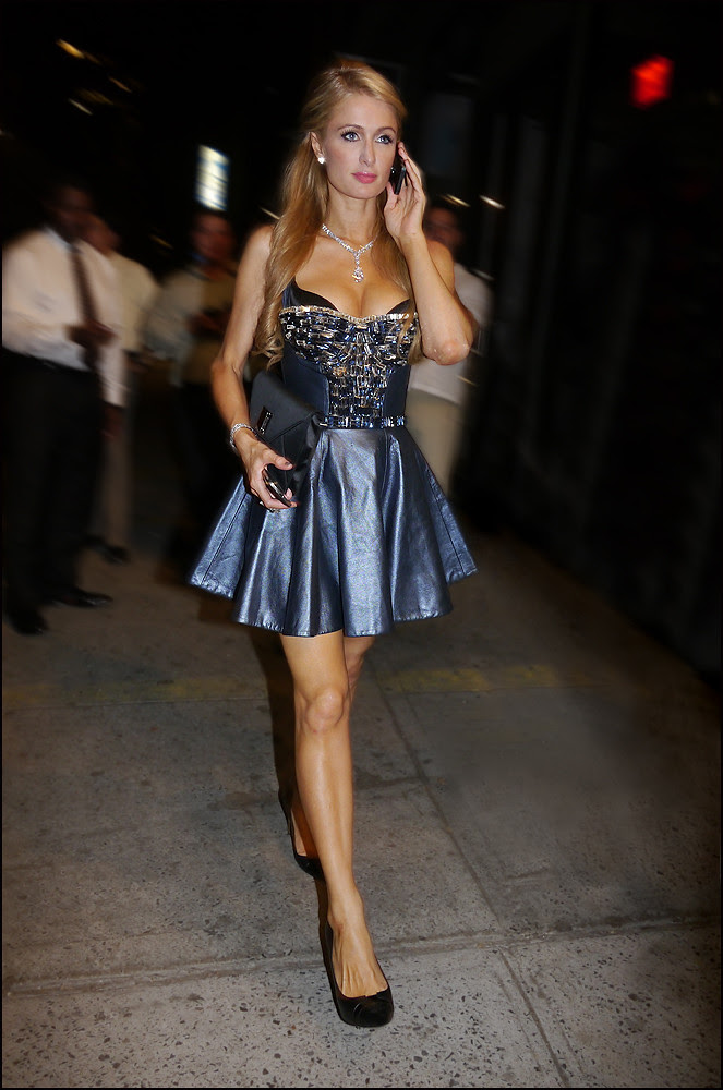 1 paris hilton short low cut blue metallic leather beaded bust mini dress diamond necklace blue clutch black pumps ol cs