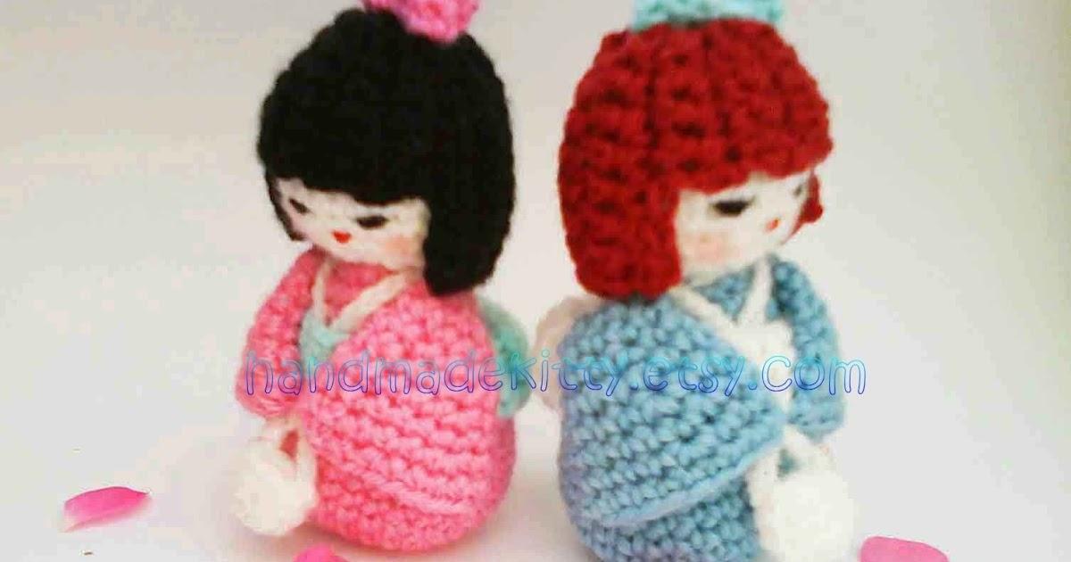 Onigiri Couple Amigurumi Free Crochet Pattern : HandmadeKitty: Japanese doll kokeshi amigurumi Crochet pattern