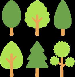 シンプルな木6種の無料ベクターイラスト素材 Picaboo ピカブー