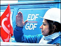 BBC news: A worker demonstrating against the Gaz de France share sale
