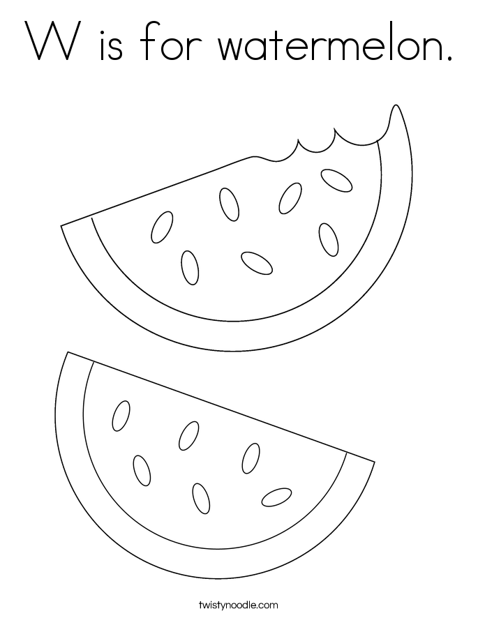 w is for watermelon_coloring_page