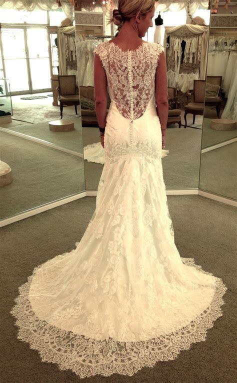 Low back lace Allure bridal gown #laceweddingdress