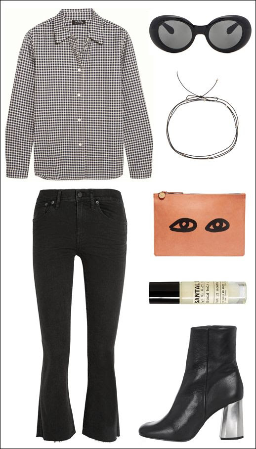 Le Fashion Blog Outfit Collage Gingham Shirt Acne Mustang Sunglasses Choker Clare V Eye Clutch Madewell Frayed Black Cropped Jeans Le Labo Santal Metal Heel Ankle Boots Fall Style