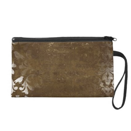 Faded Chic Brown White Vintage Damask Pattern Wristlet Clutch