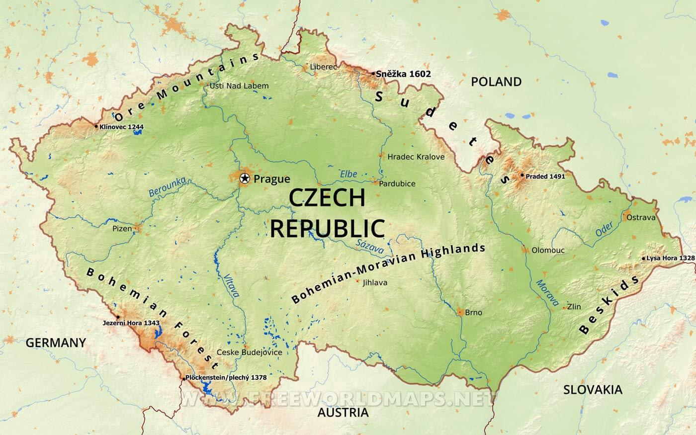 Resultado de imagen de czech republic physical map