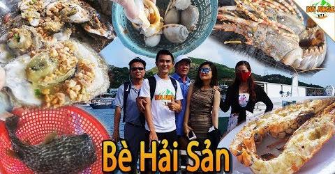 Ăn Cá Nóc Nhím và Tôm Hùm Bông trên Bè Hải Sản đảo Bình Hưng | Duy Jungle