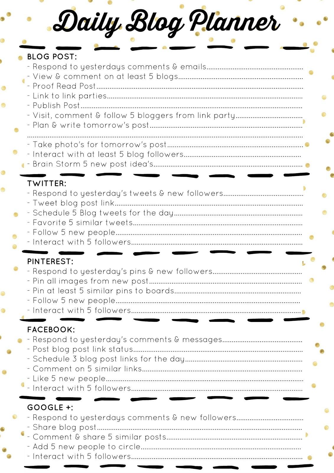 Free Printable Daily Blog Planner