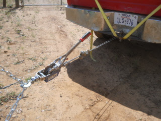 Come-along Hooked to Truck Ball Hitch