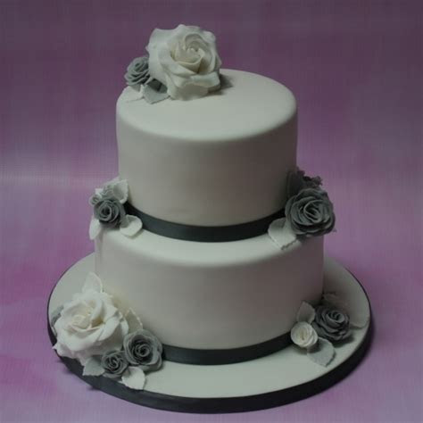 Silver and grey wedding cake   2 tier