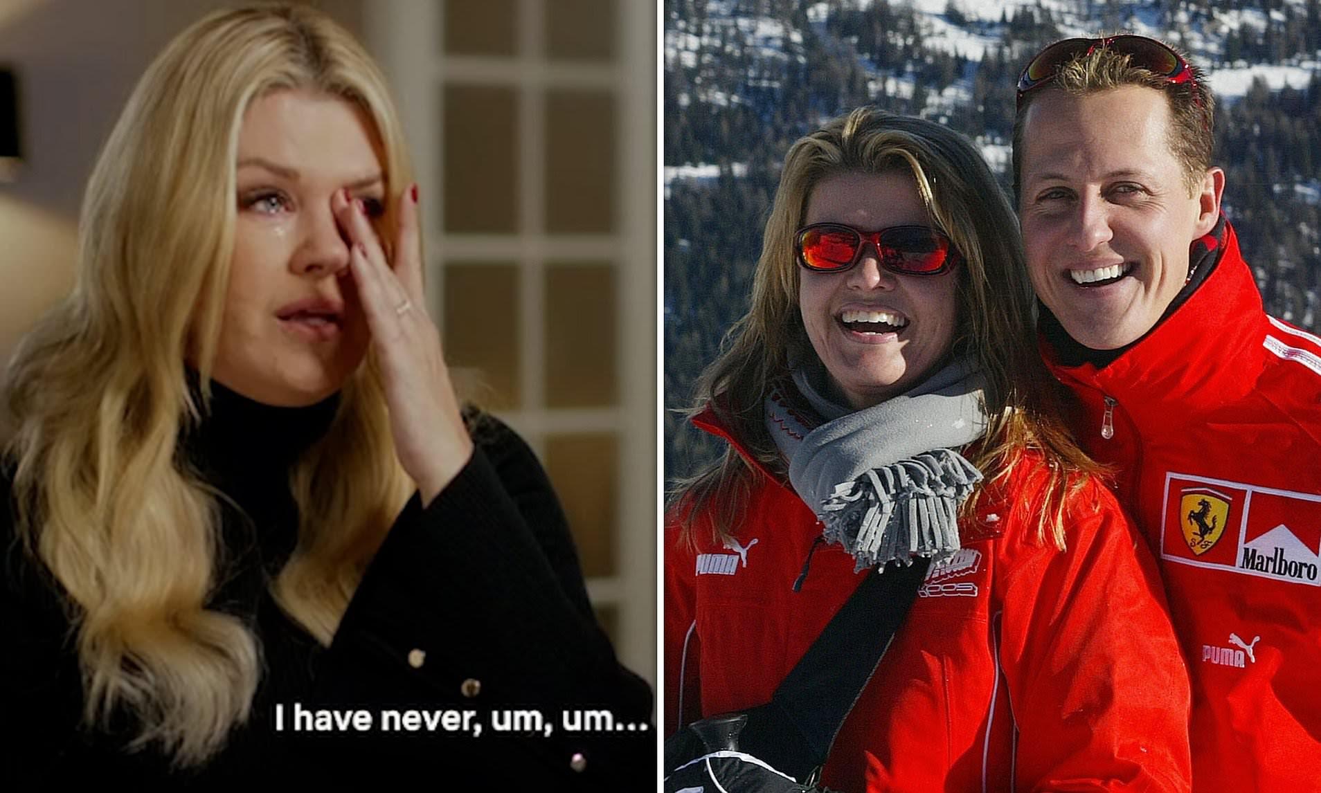 Moment Corrina Schumacher breaks down in tears in rare interview