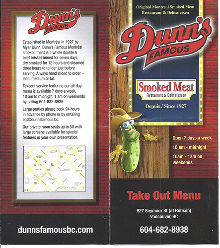 Dunn's Famous take out menu 1 of 4