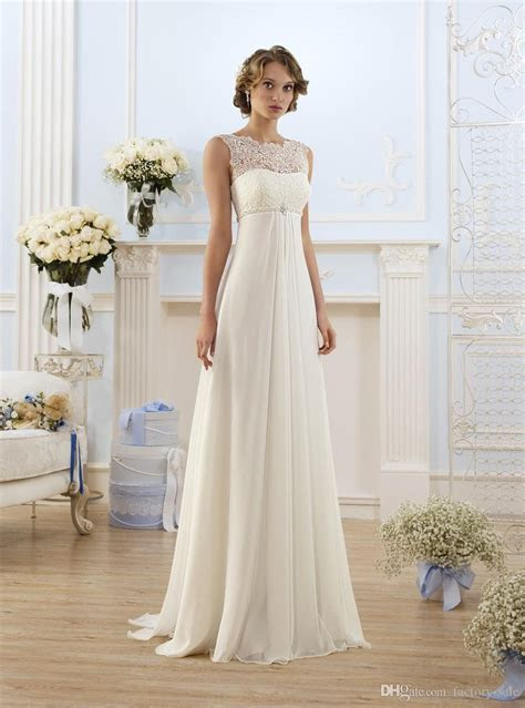 Elegant Sheath Wedding Dresses A Line Sheer Neck Capped