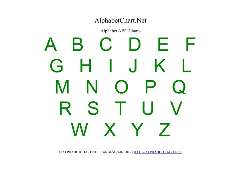 Free Printable Alphabet Charts in 7 Colors | Alphabet Chart Net