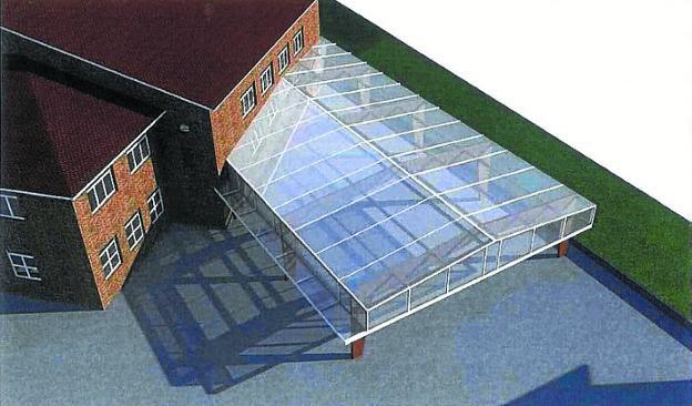 La nueva cubierta se construirá en la trasera del centro escolar./
