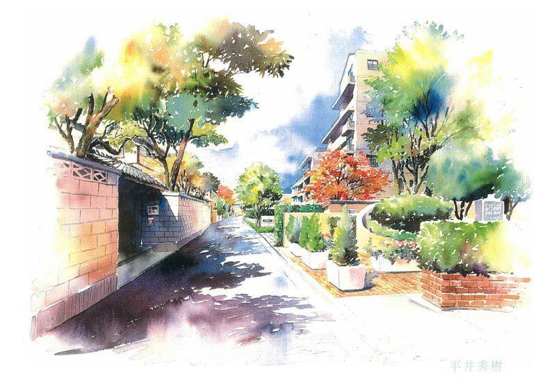 Sp14 高級住宅街の街並み 手書きパース 水彩イラスト 手描きパース