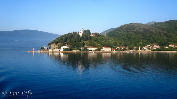 View from cruise ship of Perast in the Bay of Kotor