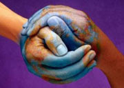 Two hands shaping the world