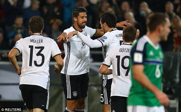 Juventus midfielder Khedira celebrates scoring the second goal in Hannover