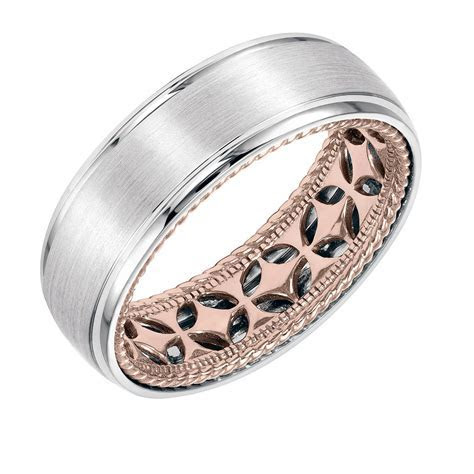 ArtCarved 14k Two Tone Gold Carved Inside, Satin and