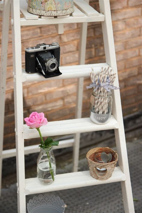 Vintage White Wooden Ladder   Beyond Expectations Weddings