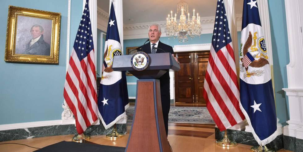 El secretario de Estado de EE UU, Rex Tillerson, informa sobre la política hacia Irán.