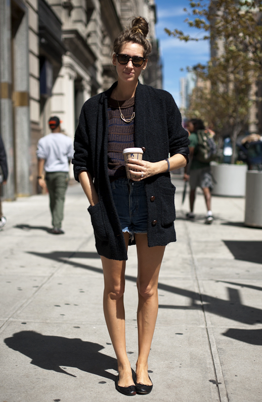 LE FASHION BLOG DENIM SHORTS FALL TRANSITION FREE PEOPLE BALLET FLATS CARDIGAN SWEATER KNIT SWEATER MESSY TOP KNOT VINTAGE CUT OFF JEAN SHORTS SUNGLASSES FREE PEOPLE BLOG NEW YORK STREET STYLE 3 photo LEFASHIONBLOGDENIMSHORTSFALLTRANSITIONFREEPEOPLEBALLETFLATS3.png