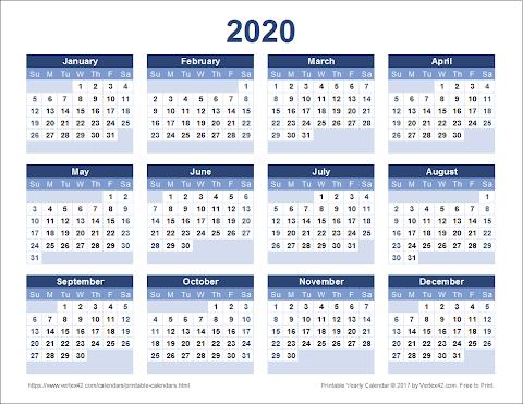 2020 Calendar Template Word Uk