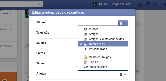 Editando privacidade das suas curtidas (Foto: Reprodução/Helito Bijora)
