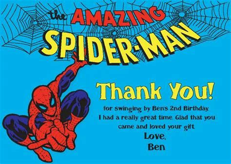 Printable Spiderman Thank You card