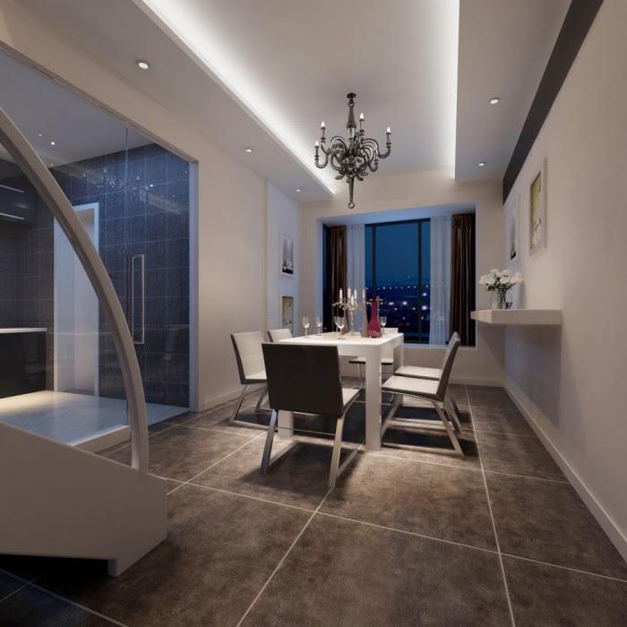 super cool metalic chandelier lit dining kitchen china
