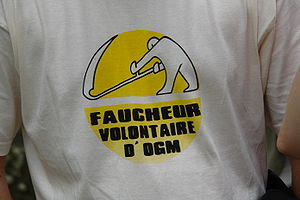 T-shirt against GMO food. The logo is not copy...