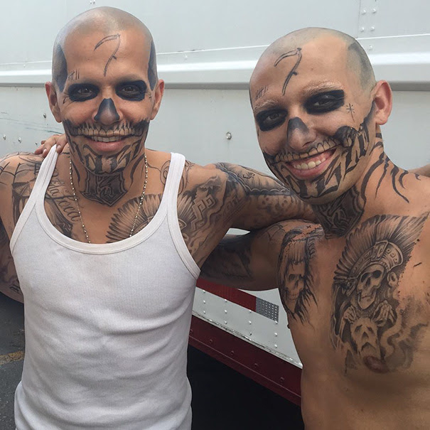 Jay Hernandez With His Stunt Double On The Set Of Suicide Squad