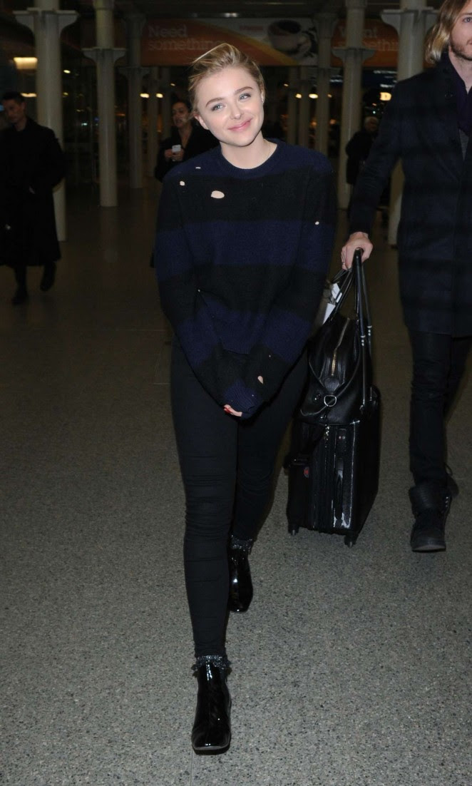 Chloe Moretz Ariving in London from Paris -04