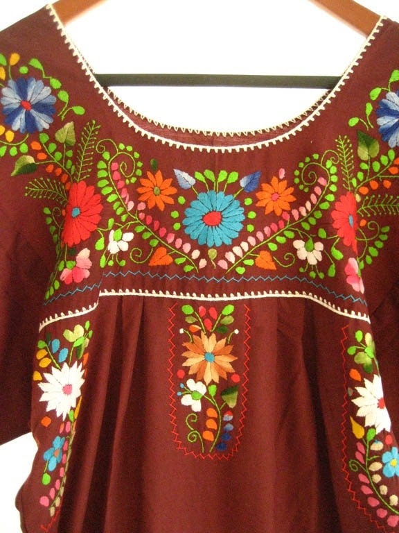 Mexican embroidered tunic dress wine (Burgundy)