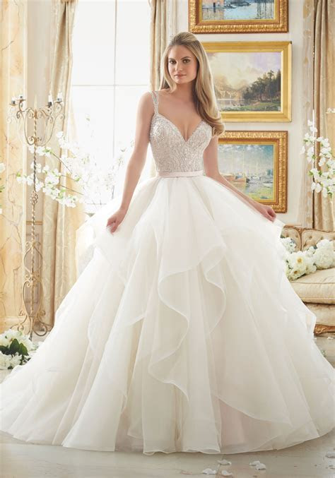 Dazzling Beaded Bodice on Flounced Tulle and Organza Ball