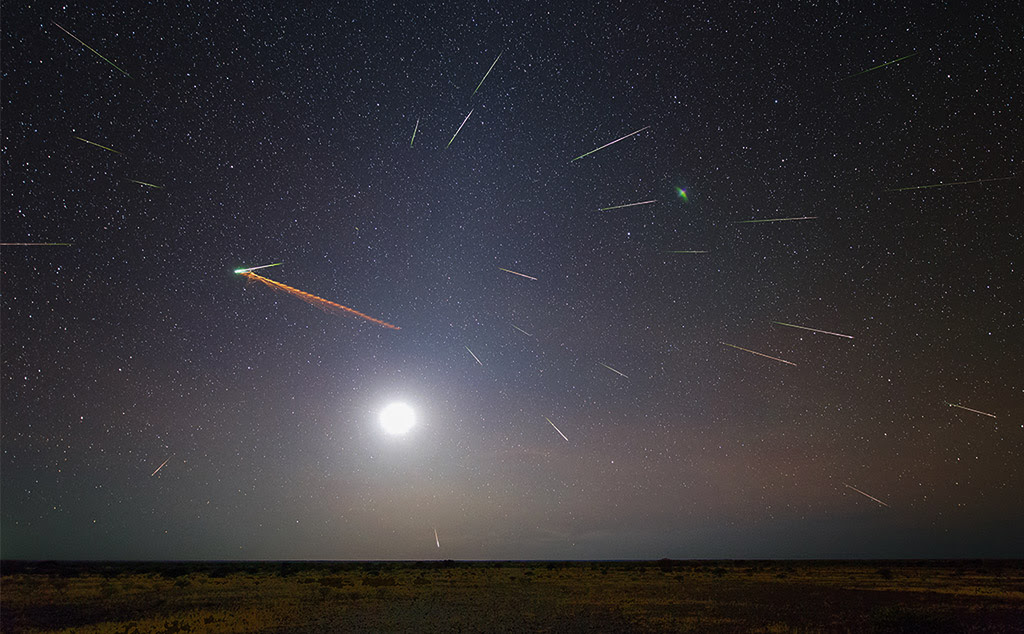 The 2013 Eta Aquarid meteor shower was fantastic as viewed from Earth's Southern Hemisphere. Colin Legg of Australia created this composite of his experience. He wrote, 'Composite of approximately 50 images containing 26 meteors, meteor train, 17 % moon, zodiacal light and Pilbara desert.