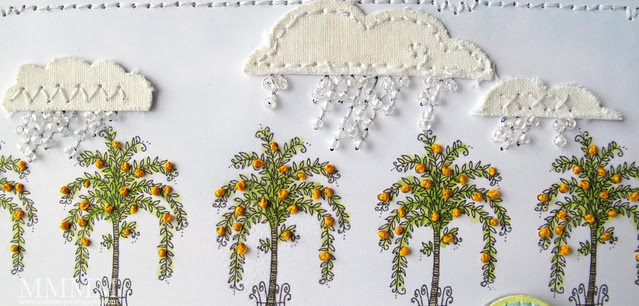 stitched cloth clouds & bead rain