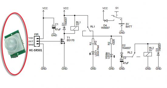 Night Security Light with PIR sensor circuit