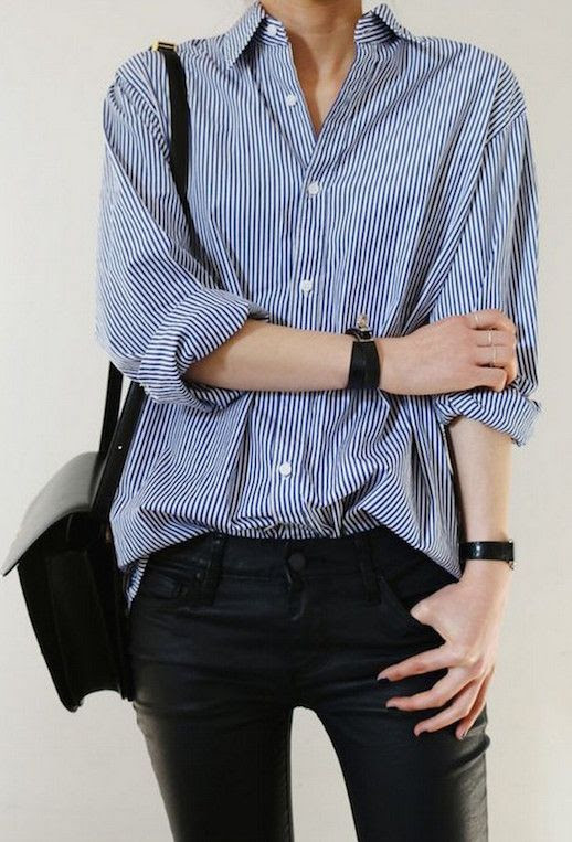 Le Fashion Blog 25 Ways To Wear A Striped Button Down Shirt Black Leather Pants Via Death By Elocution Tucked In