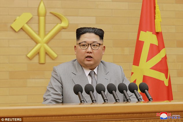 Kim Jong-un (pictured) has cancelled a joint 'cultural event' with South Korea ahead of the Winter Olympics, after complaining about 'biased' media reports